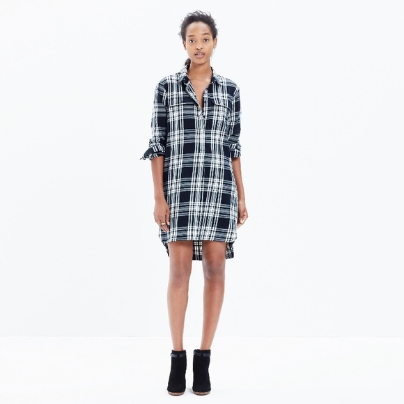 bdddcd429ca Madewell Dresses | Flannel Daywalk Black Plaid Shirt Dress | Poshmark